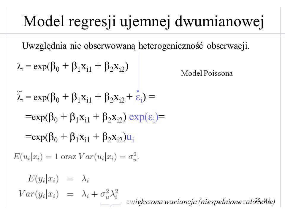 /41 Model regresji ujemnej dwumianowej Uwzględnia nie obserwowaną heterogeniczność obserwacji. λ i = exp( β 0 + β 1 x i1 + β 2 x i2 ) λ i = exp( β 0 +