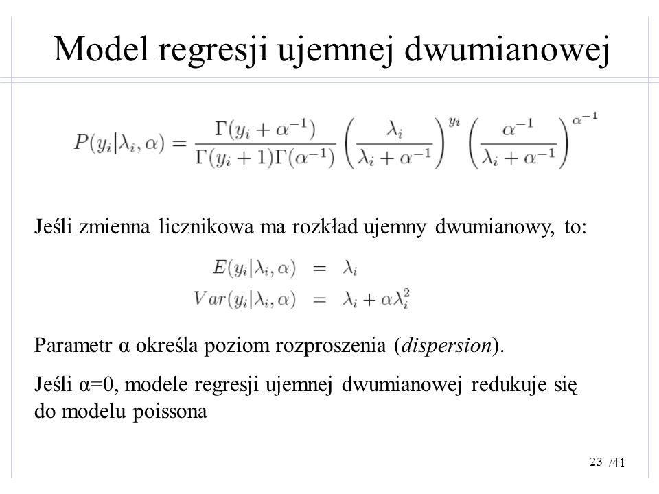 /41 Model regresji ujemnej dwumianowej Jeśli zmienna licznikowa ma rozkład ujemny dwumianowy, to: Parametr α określa poziom rozproszenia (dispersion).