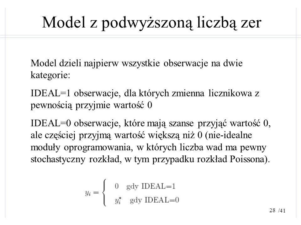 /41 Model z podwyższoną liczbą zer Model dzieli najpierw wszystkie obserwacje na dwie kategorie: IDEAL=1 obserwacje, dla których zmienna licznikowa z