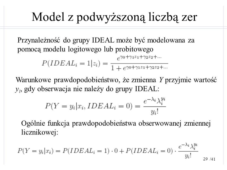 /41 Model z podwyższoną liczbą zer Przynależność do grupy IDEAL może być modelowana za pomocą modelu logitowego lub probitowego Warunkowe prawdopodobi