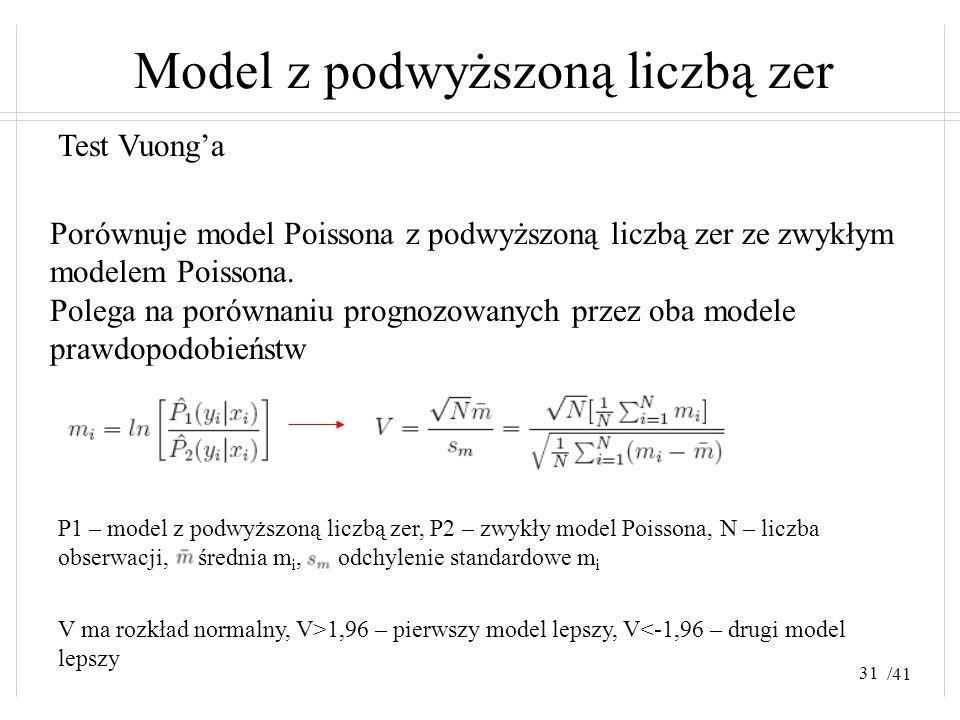 /41 Model z podwyższoną liczbą zer Test Vuong'a Porównuje model Poissona z podwyższoną liczbą zer ze zwykłym modelem Poissona. Polega na porównaniu pr