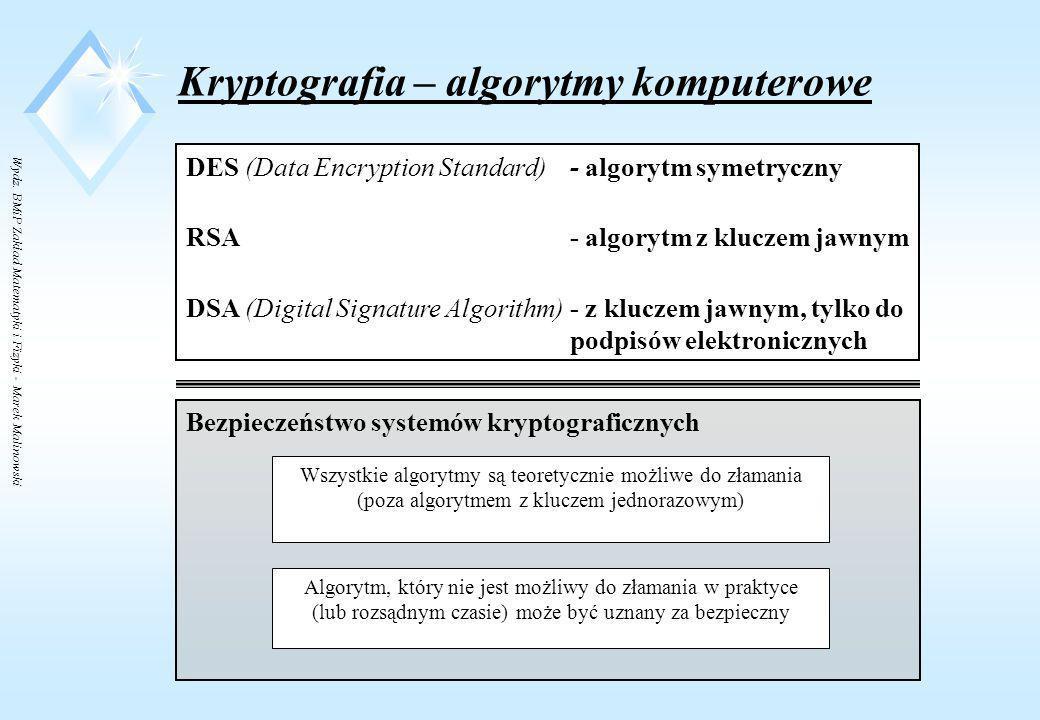 Wydz. BMiP Zakład Matematyki i Fizyki - Marek Malinowski Kryptografia – algorytmy z kluczem