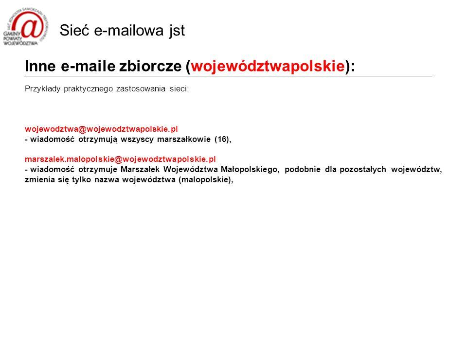 Inne e-maile zbiorcze (województwapolskie): Przykłady praktycznego zastosowania sieci: wojewodztwa@wojewodztwapolskie.pl - wiadomość otrzymują wszyscy marszałkowie (16), marszalek.malopolskie@wojewodztwapolskie.pl - wiadomość otrzymuje Marszałek Województwa Małopolskiego, podobnie dla pozostałych województw, zmienia się tylko nazwa województwa (malopolskie), Sieć e-mailowa jst