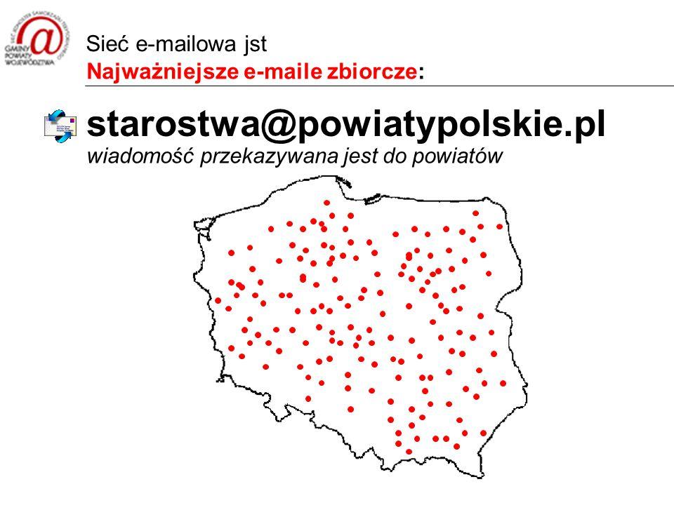 Najważniejsze e-maile zbiorcze: wiadomość przekazywana jest do powiatów starostwa@powiatypolskie.pl Sieć e-mailowa jst