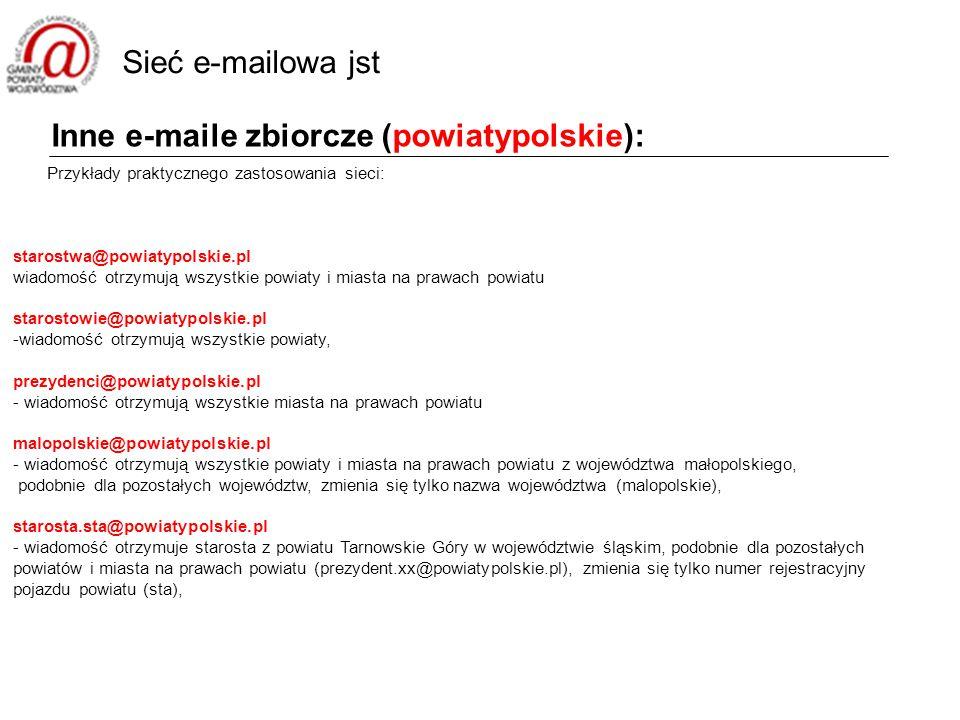Inne e-maile zbiorcze (powiatypolskie): Przykłady praktycznego zastosowania sieci: starostwa@powiatypolskie.pl wiadomość otrzymują wszystkie powiaty i miasta na prawach powiatu starostowie@powiatypolskie.pl -wiadomość otrzymują wszystkie powiaty, prezydenci@powiatypolskie.pl - wiadomość otrzymują wszystkie miasta na prawach powiatu malopolskie@powiatypolskie.pl - wiadomość otrzymują wszystkie powiaty i miasta na prawach powiatu z województwa małopolskiego, podobnie dla pozostałych województw, zmienia się tylko nazwa województwa (malopolskie), starosta.sta@powiatypolskie.pl - wiadomość otrzymuje starosta z powiatu Tarnowskie Góry w województwie śląskim, podobnie dla pozostałych powiatów i miasta na prawach powiatu (prezydent.xx@powiatypolskie.pl), zmienia się tylko numer rejestracyjny pojazdu powiatu (sta), Sieć e-mailowa jst