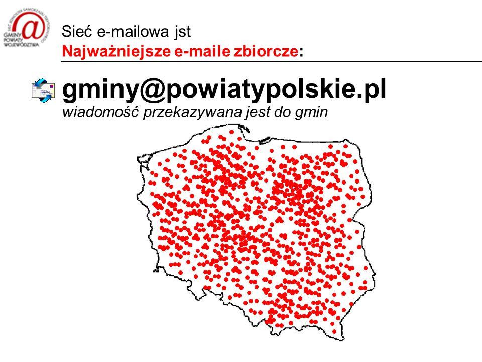 Najważniejsze e-maile zbiorcze: wiadomość przekazywana jest do gmin gminy@powiatypolskie.pl Sieć e-mailowa jst