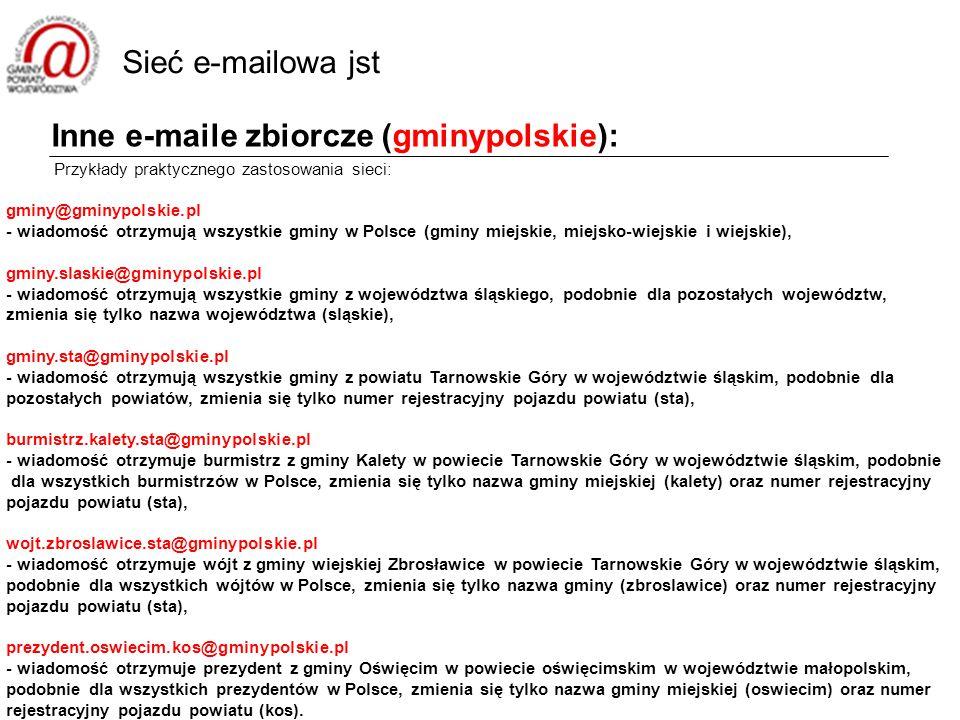 Inne e-maile zbiorcze (gminypolskie): Przykłady praktycznego zastosowania sieci: gminy@gminypolskie.pl - wiadomość otrzymują wszystkie gminy w Polsce (gminy miejskie, miejsko-wiejskie i wiejskie), gminy.slaskie@gminypolskie.pl - wiadomość otrzymują wszystkie gminy z województwa śląskiego, podobnie dla pozostałych województw, zmienia się tylko nazwa województwa (sląskie), gminy.sta@gminypolskie.pl - wiadomość otrzymują wszystkie gminy z powiatu Tarnowskie Góry w województwie śląskim, podobnie dla pozostałych powiatów, zmienia się tylko numer rejestracyjny pojazdu powiatu (sta), burmistrz.kalety.sta@gminypolskie.pl - wiadomość otrzymuje burmistrz z gminy Kalety w powiecie Tarnowskie Góry w województwie śląskim, podobnie dla wszystkich burmistrzów w Polsce, zmienia się tylko nazwa gminy miejskiej (kalety) oraz numer rejestracyjny pojazdu powiatu (sta), wojt.zbroslawice.sta@gminypolskie.pl - wiadomość otrzymuje wójt z gminy wiejskiej Zbrosławice w powiecie Tarnowskie Góry w województwie śląskim, podobnie dla wszystkich wójtów w Polsce, zmienia się tylko nazwa gminy (zbroslawice) oraz numer rejestracyjny pojazdu powiatu (sta), prezydent.oswiecim.kos@gminypolskie.pl - wiadomość otrzymuje prezydent z gminy Oświęcim w powiecie oświęcimskim w województwie małopolskim, podobnie dla wszystkich prezydentów w Polsce, zmienia się tylko nazwa gminy miejskiej (oswiecim) oraz numer rejestracyjny pojazdu powiatu (kos).