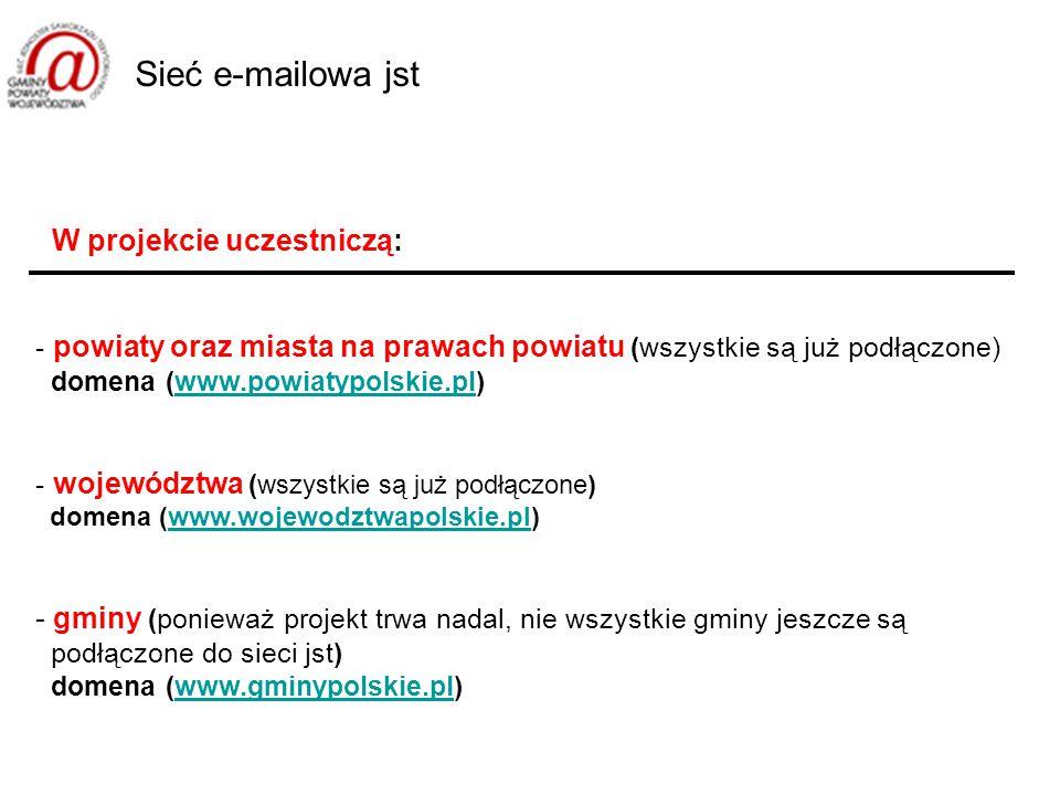 W projekcie uczestniczą: - powiaty oraz miasta na prawach powiatu (wszystkie są już podłączone) domena (www.powiatypolskie.pl)www.powiatypolskie.pl - województwa ( wszystkie są już podłączone) domena (www.wojewodztwapolskie.pl)www.wojewodztwapolskie.pl - gminy (ponieważ projekt trwa nadal, nie wszystkie gminy jeszcze są podłączone do sieci jst) domena (www.gminypolskie.pl)www.gminypolskie.pl