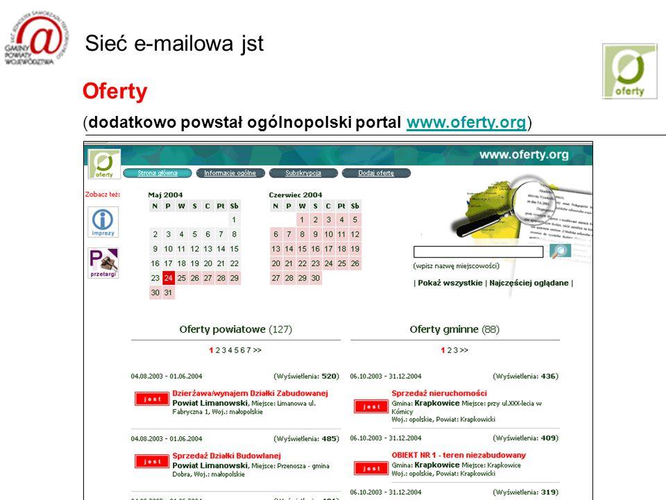 Oferty Sieć e-mailowa jst (dodatkowo powstał ogólnopolski portal www.oferty.org)www.oferty.org