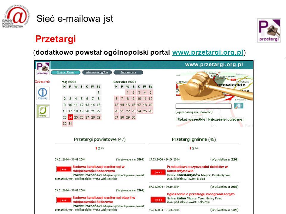 Przetargi Sieć e-mailowa jst (dodatkowo powstał ogólnopolski portal www.przetargi.org.pl)www.przetargi.org.pl