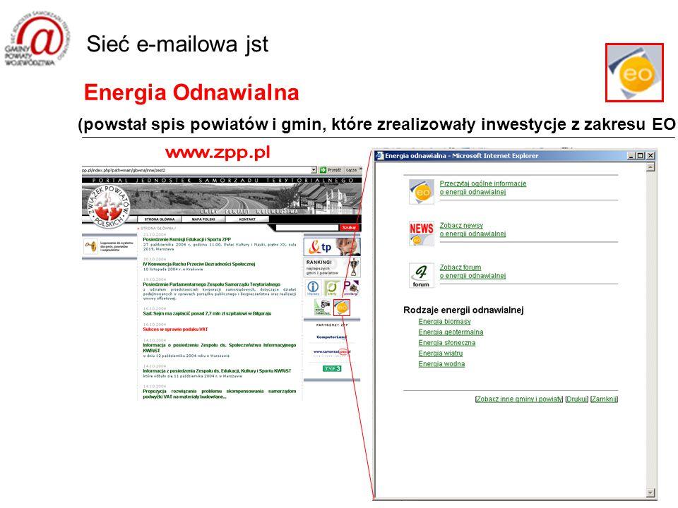 Energia Odnawialna Sieć e-mailowa jst (powstał spis powiatów i gmin, które zrealizowały inwestycje z zakresu EO
