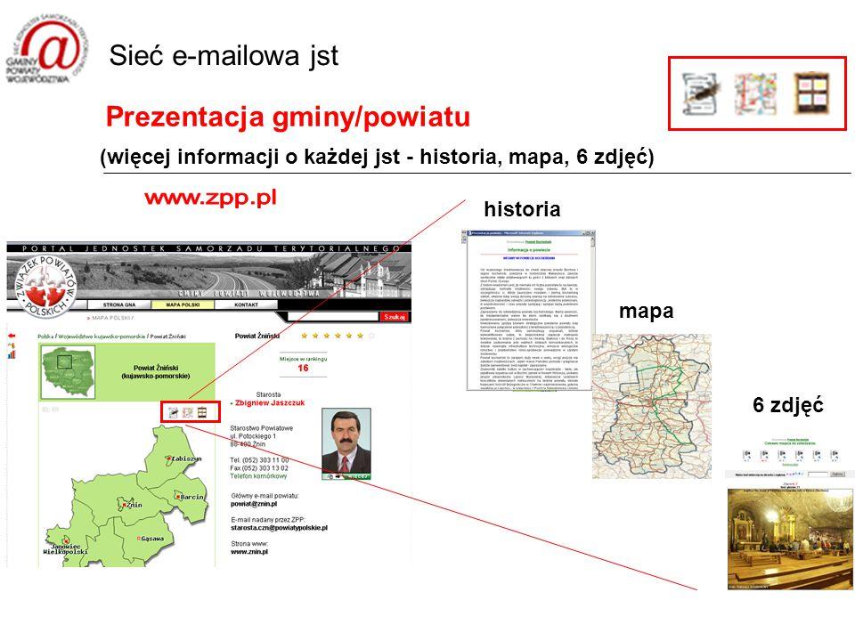 Prezentacja gminy/powiatu Sieć e-mailowa jst (więcej informacji o każdej jst - historia, mapa, 6 zdjęć) historia mapa 6 zdjęć