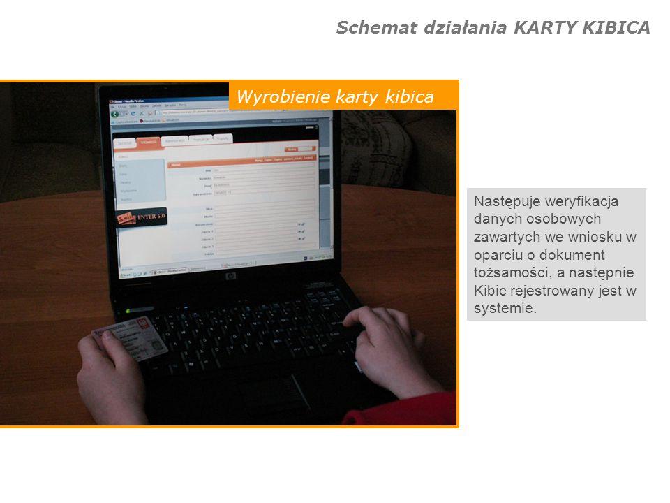 Schemat działania KARTY KIBICA Wyrobienie karty kibica Po zakończeniu rejestracji Kibic otrzymuje swoją Kartę Kibica, za pomocą której będzie od tej pory identyfikowany przy każdorazowym zakupie biletu lub wejściu na obiekt sportowy.