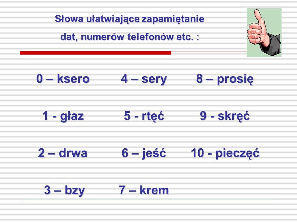 Słowa ułatwiające zapamiętanie dat, numerów telefonów etc. : 0 – ksero 4 – sery 8 – prosię 1 - głaz 5 - rtęć 9 - skręć 2 – drwa 6 – jeść 10 - pieczęć