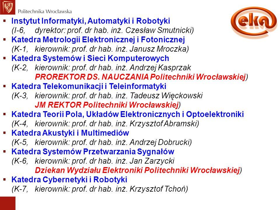 Organizacja Wydziału Elektroniki  Instytut Informatyki, Automatyki i Robotyki (I-6,dyrektor: prof. dr hab. inż. Czesław Smutnicki)  Katedra Metrolog
