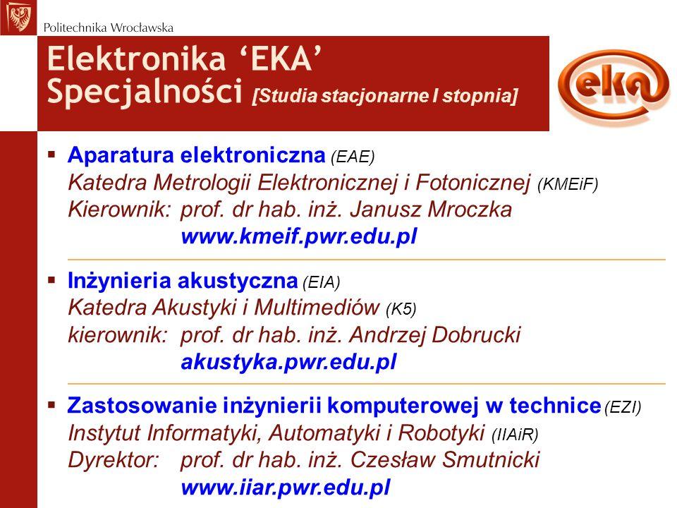 Elektronika 'EKA' Specjalności [Studia stacjonarne I stopnia]  Aparatura elektroniczna (EAE) Katedra Metrologii Elektronicznej i Fotonicznej (KMEiF)