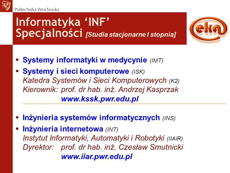 Informatyka 'INF' Specjalności [Studia stacjonarne I stopnia]  Systemy informatyki w medycynie (IMT)  Systemy i sieci komputerowe (ISK) Katedra Syst