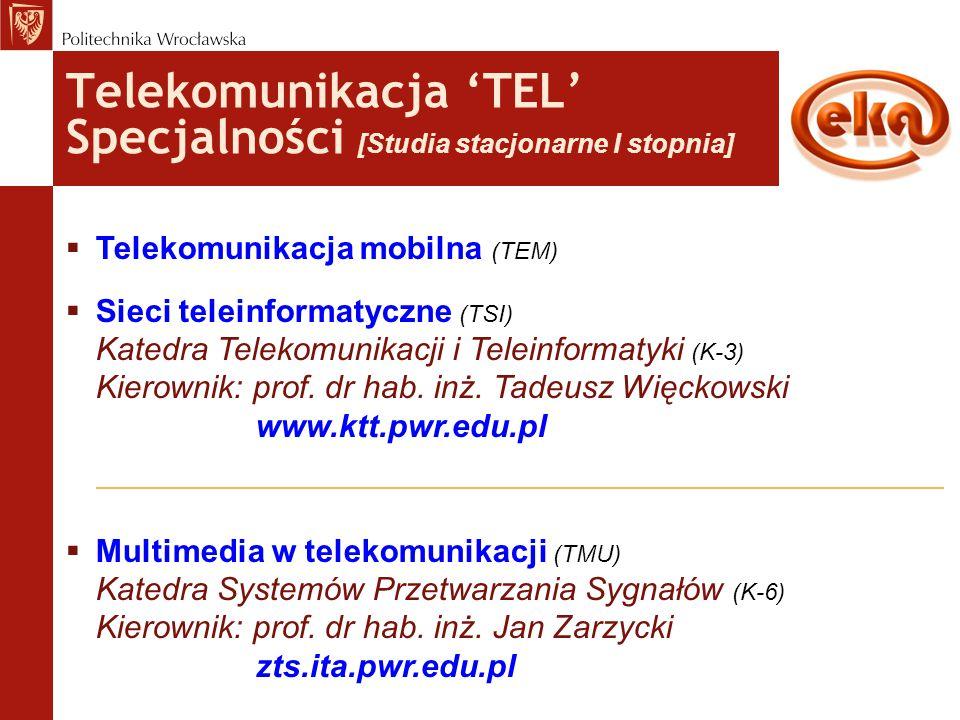 Telekomunikacja 'TEL' Specjalności [Studia stacjonarne I stopnia]  Telekomunikacja mobilna (TEM)  Sieci teleinformatyczne (TSI) Katedra Telekomunika