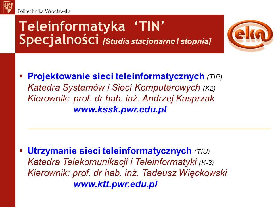Teleinformatyka 'TIN' Specjalności [Studia stacjonarne I stopnia]  Projektowanie sieci teleinformatycznych (TIP) Katedra Systemów i Sieci Komputerowy