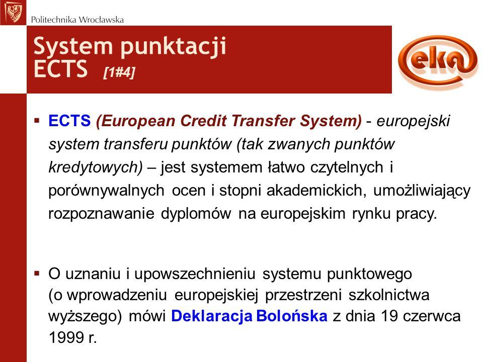 System punktacji ECTS [1#4]  ECTS (European Credit Transfer System) - europejski system transferu punktów (tak zwanych punktów kredytowych) – jest sy