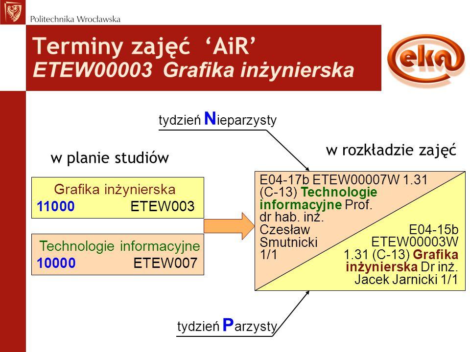 Terminy zajęć 'AiR' ETEW00003 Grafika inżynierska w planie studiów Grafika inżynierska 11000ETEW003 w rozkładzie zajęć E04-15b ETEW00003W 1.31 (C-13)