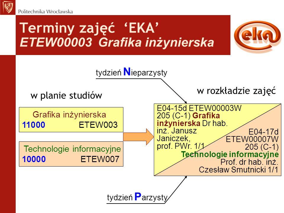 Terminy zajęć 'EKA' ETEW00003 Grafika inżynierska w planie studiów Grafika inżynierska 11000ETEW003 w rozkładzie zajęć E04-15d ETEW00003W 205 (C-1) Gr