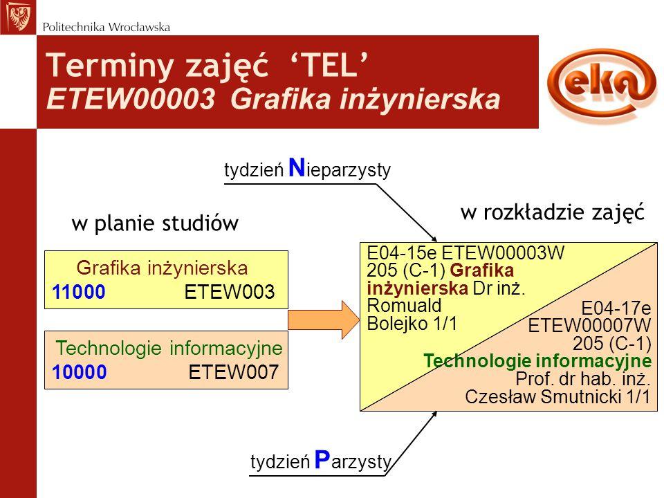 Terminy zajęć 'TEL' ETEW00003 Grafika inżynierska w planie studiów Grafika inżynierska 11000ETEW003 w rozkładzie zajęć E04-15e ETEW00003W 205 (C-1) Gr