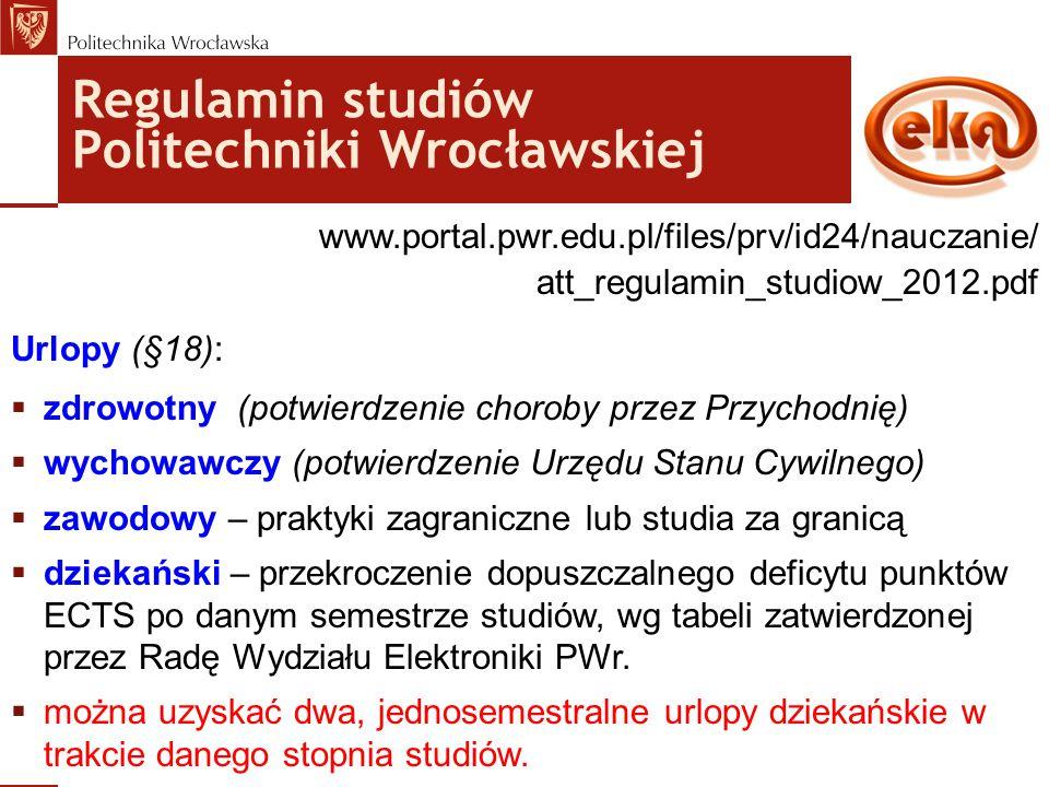 Regulamin studiów Politechniki Wrocławskiej www.portal.pwr.edu.pl/files/prv/id24/nauczanie/ att_regulamin_studiow_2012.pdf Urlopy (§18):  zdrowotny (