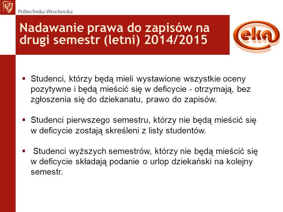 Nadawanie prawa do zapisów na drugi semestr (letni) 2014/2015  Studenci, którzy będą mieli wystawione wszystkie oceny pozytywne i będą mieścić się w