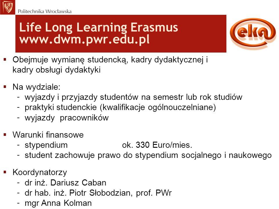 Life Long Learning Erasmus www.dwm.pwr.edu.pl  Obejmuje wymianę studencką, kadry dydaktycznej i kadry obsługi dydaktyki  Na wydziale: – wyjazdy i pr