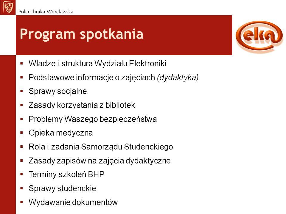 Podstawowe informacje o zajęciach dydaktycznych www.weka.pwr.edu.pl