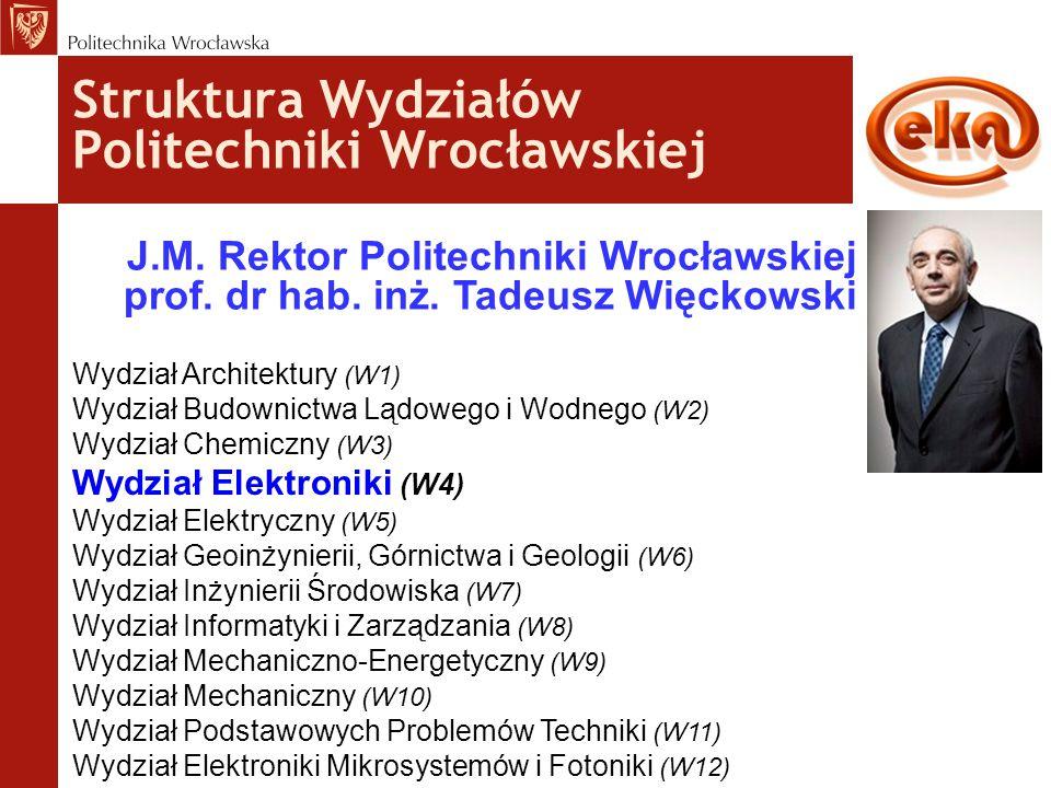 Struktura Wydziałów Politechniki Wrocławskiej J.M. Rektor Politechniki Wrocławskiej prof. dr hab. inż. Tadeusz Więckowski Wydział Architektury (W1) Wy