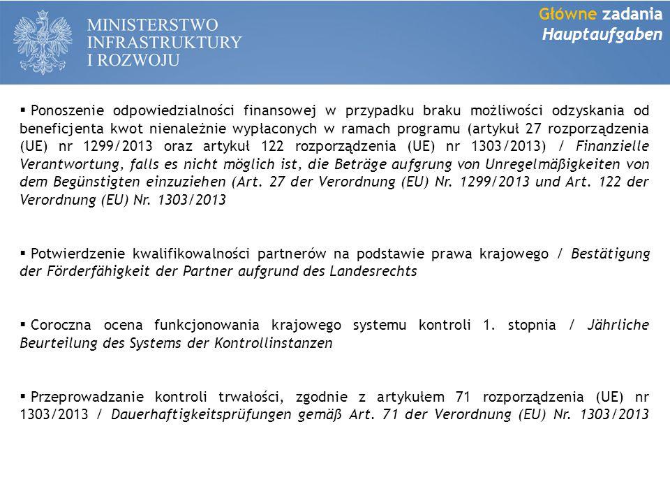  Ponoszenie odpowiedzialności finansowej w przypadku braku możliwości odzyskania od beneficjenta kwot nienależnie wypłaconych w ramach programu (artykuł 27 rozporządzenia (UE) nr 1299/2013 oraz artykuł 122 rozporządzenia (UE) nr 1303/2013) / Finanzielle Verantwortung, falls es nicht möglich ist, die Beträge aufgrung von Unregelmäßigkeiten von dem Begünstigten einzuziehen (Art.