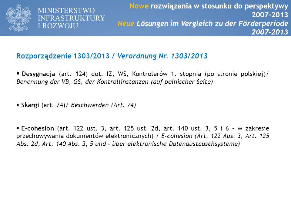 Rozporządzenie 1303/2013 / Verordnung Nr. 1303/2013  Desygnacja (art.