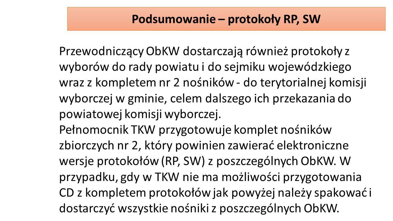 Przewodniczący ObKW dostarczają również protokoły z wyborów do rady powiatu i do sejmiku wojewódzkiego wraz z kompletem nr 2 nośników - do terytorialnej komisji wyborczej w gminie, celem dalszego ich przekazania do powiatowej komisji wyborczej.
