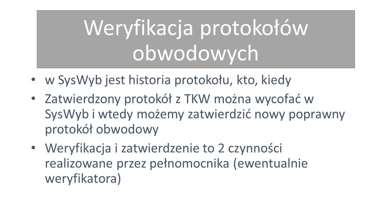 Weryfikacja protokołów obwodowych w SysWyb jest historia protokołu, kto, kiedy Zatwierdzony protokół z TKW można wycofać w SysWyb i wtedy możemy zatwierdzić nowy poprawny protokół obwodowy Weryfikacja i zatwierdzenie to 2 czynności realizowane przez pełnomocnika (ewentualnie weryfikatora)