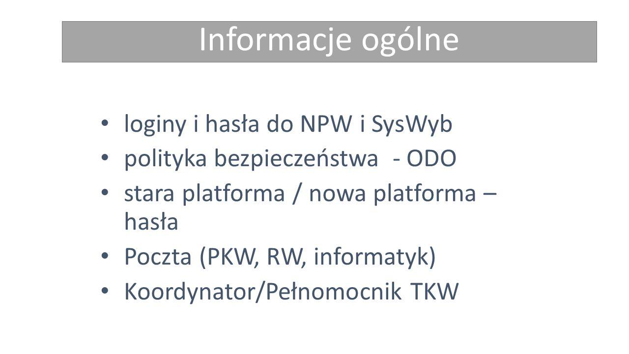 Informacje ogólne loginy i hasła do NPW i SysWyb polityka bezpieczeństwa - ODO stara platforma / nowa platforma – hasła Poczta (PKW, RW, informatyk) Koordynator/Pełnomocnik TKW