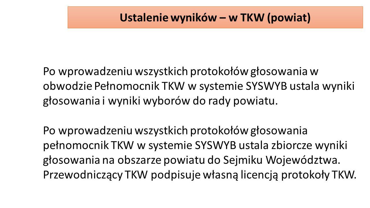 Po wprowadzeniu wszystkich protokołów głosowania w obwodzie Pełnomocnik TKW w systemie SYSWYB ustala wyniki głosowania i wyniki wyborów do rady powiatu.