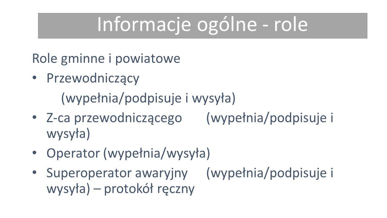 Informacje ogólne - role Role gminne i powiatowe Przewodniczący (wypełnia/podpisuje i wysyła) Z-ca przewodniczącego (wypełnia/podpisuje i wysyła) Oper