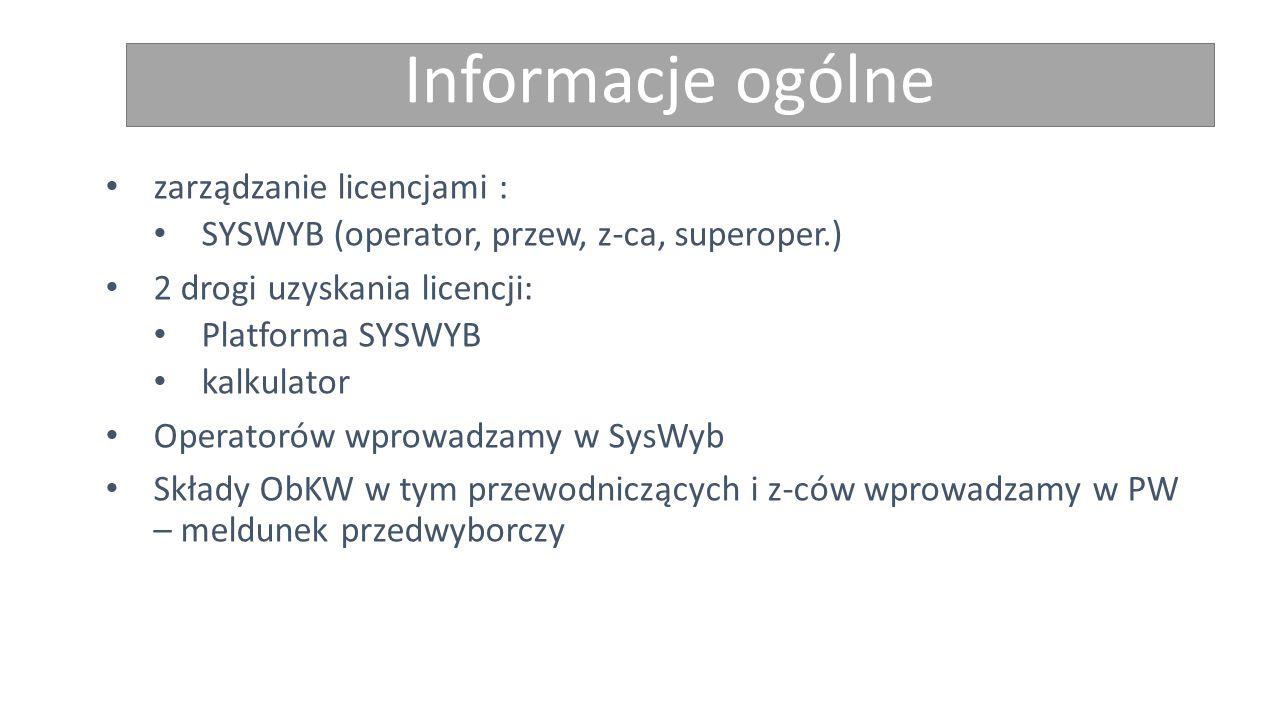 Informacje ogólne zarządzanie licencjami : SYSWYB (operator, przew, z-ca, superoper.) 2 drogi uzyskania licencji: Platforma SYSWYB kalkulator Operatorów wprowadzamy w SysWyb Składy ObKW w tym przewodniczących i z-ców wprowadzamy w PW – meldunek przedwyborczy