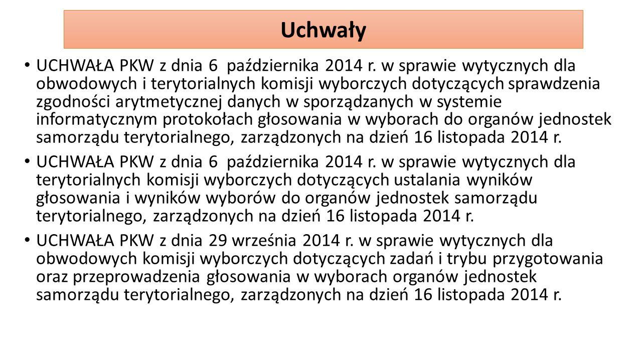 UCHWAŁA PKW z dnia 6 października 2014 r. w sprawie wytycznych dla obwodowych i terytorialnych komisji wyborczych dotyczących sprawdzenia zgodności ar