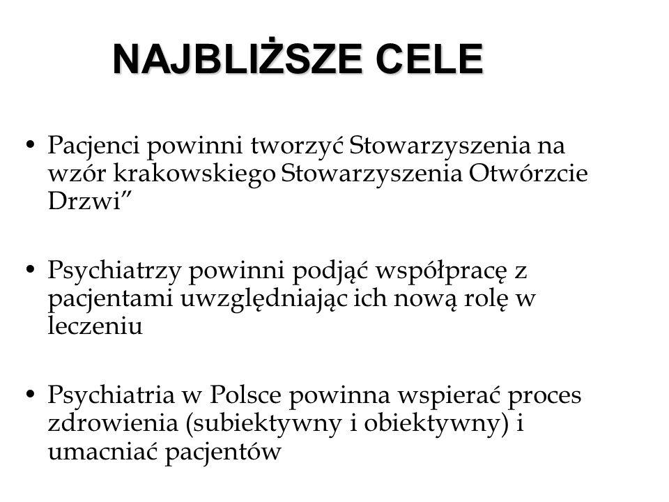 NAJBLIŻSZE CELE Pacjenci powinni tworzyć Stowarzyszenia na wzór krakowskiego Stowarzyszenia Otwórzcie Drzwi Psychiatrzy powinni podjąć współpracę z pacjentami uwzględniając ich nową rolę w leczeniu Psychiatria w Polsce powinna wspierać proces zdrowienia (subiektywny i obiektywny) i umacniać pacjentów
