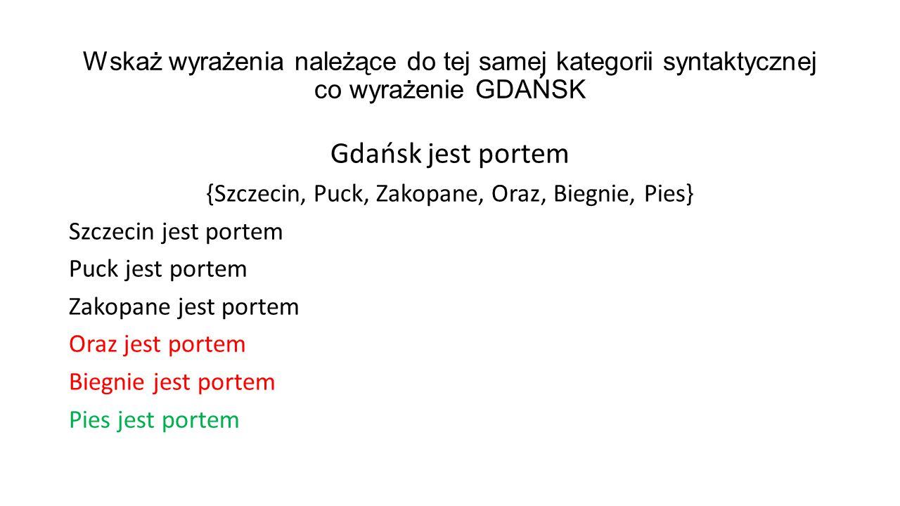 Wskaż wyrażenia należące do tej samej kategorii syntaktycznej co wyrażenie GDAŃSK Gdańsk jest portem {Szczecin, Puck, Zakopane, Oraz, Biegnie, Pies} S