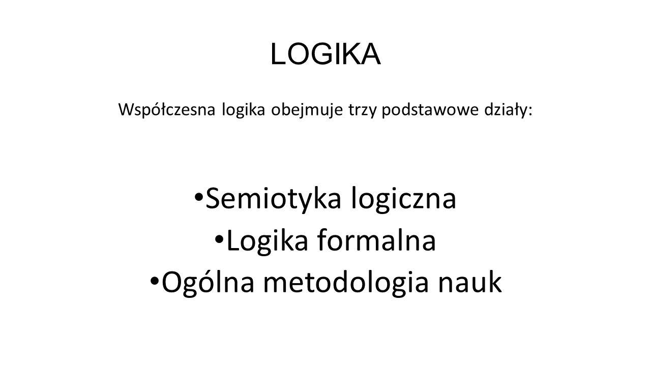 LOGIKA Współczesna logika obejmuje trzy podstawowe działy: Semiotyka logiczna Logika formalna Ogólna metodologia nauk