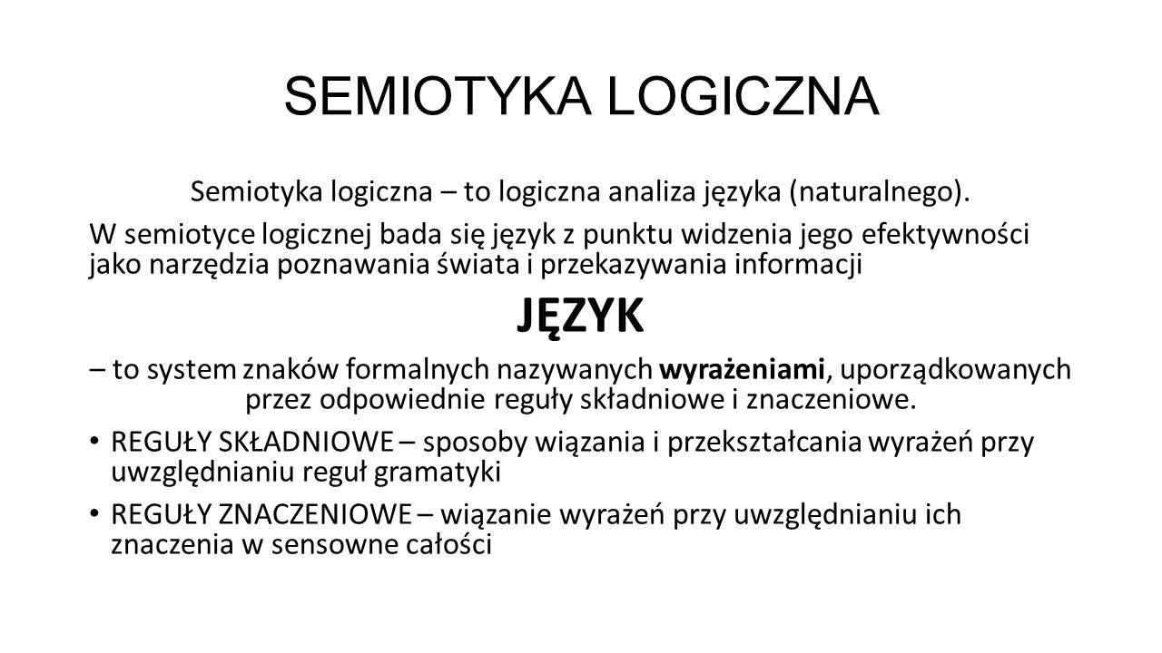 SEMIOTYKA LOGICZNA Semiotyka logiczna – to logiczna analiza języka (naturalnego). W semiotyce logicznej bada się język z punktu widzenia jego efektywn