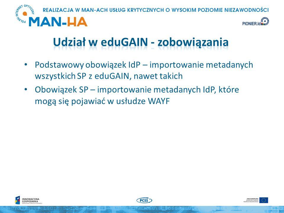 Podstawowy obowiązek IdP – importowanie metadanych wszystkich SP z eduGAIN, nawet takich Obowiązek SP – importowanie metadanych IdP, które mogą się pojawiać w usłudze WAYF