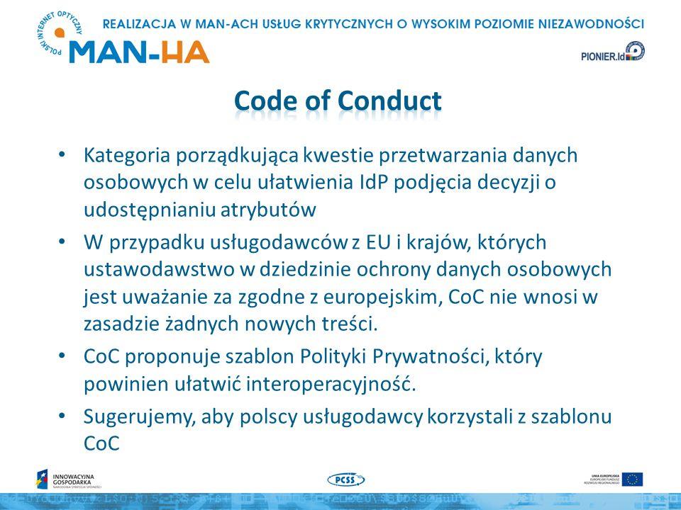 Kategoria porządkująca kwestie przetwarzania danych osobowych w celu ułatwienia IdP podjęcia decyzji o udostępnianiu atrybutów W przypadku usługodawców z EU i krajów, których ustawodawstwo w dziedzinie ochrony danych osobowych jest uważanie za zgodne z europejskim, CoC nie wnosi w zasadzie żadnych nowych treści.