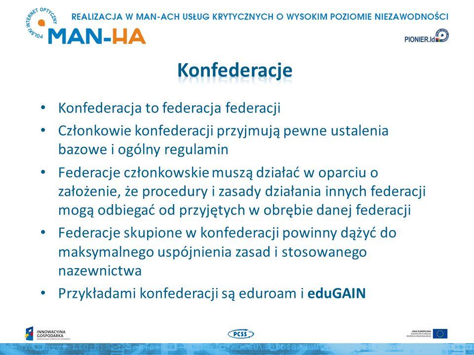 http://www.edugain.org/technical/status.php eduGAIN jest konfederacją o ogólnoświatowym zasięgu, skupiającą akademickie i naukowe federacje zarządzania tożsamością (koniec października 2014 – 27 federacji krajowych) rozwój i utrzymanie eduGAIN jest jednym z zadań projektu GEANT Główny cel eduGAIN – ograniczenie sytuacji, w których jeden Dostawca Usługi musi się rejestrować we wszystkich federacjach na świecie Techniczne działanie eduGAIN polega na utrzymywaniu zaufanego źródła metadanych powstającego jako agregat metadanych przekazywanych przez federacje członkowskie Utrzymanie infrastruktury eduGAIN – M.Górecka-Wolniewicz, T.