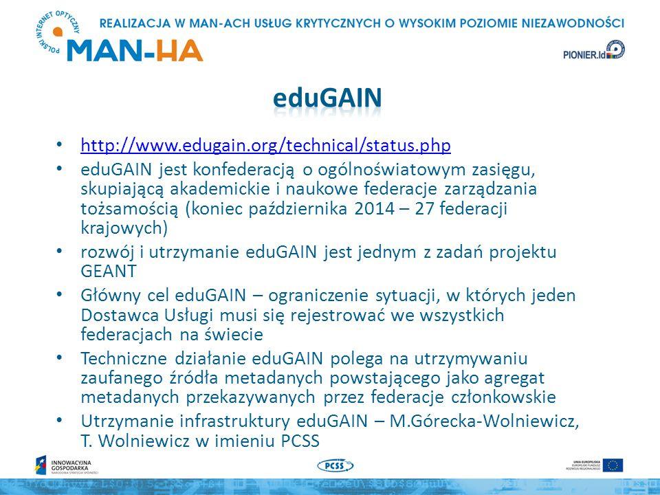 Federacje członkowskie przygotowują zbiory metadanych i podpisują je cyfrowo kluczem wcześniej uzgodnionym z operatorami eduGAIN eduGAIN scala metadane, kontrolując ich poprawność i fakt, że wszystkie obiekty mają prawidłowe wskazanie federacji macierzystej, a następnie podpisuje metadane własnym kluczem Dane dostępne są publicznie, pod adresem http://mds.edugain.org/, ale nie są przeznaczone pobierania bezpośrednio przez SP i IdP.http://mds.edugain.org/ Federacje członkowskie pobierają metadane z eduGAIN, mogą je poddać lokalnej obróbce, podpisują własnym kluczem i udostępniają własnym członkom/partnerom SP i IdP należące do federacji pobierają metadane eduGAIN z repozytorium swojej federacji i instalują je w swoich systemach PIONIER.Id udostępnia trzy zbiory: – metadane PIONIER.Id – zagregowane metadane PIONIER.Id i eduGAIN – tylko SP – zagregowane metadane PIONIER.Id i eduGAIN – tylko IdP