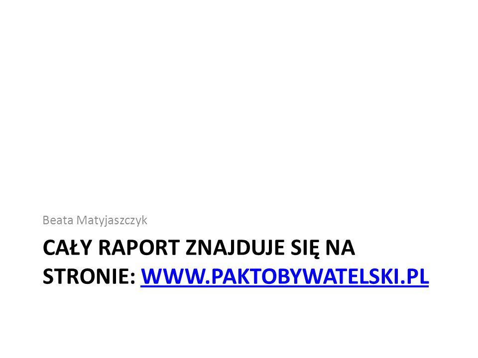 CAŁY RAPORT ZNAJDUJE SIĘ NA STRONIE: WWW.PAKTOBYWATELSKI.PLWWW.PAKTOBYWATELSKI.PL Beata Matyjaszczyk